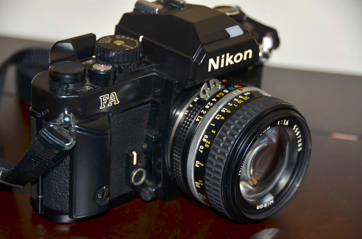 Nikon FA ニコン フィルムカメラ ブラック Nikkor 50mm f1.4 Ai-S レンズ National PE-200 S ストロボ ケース ストラップ 付き_画像3