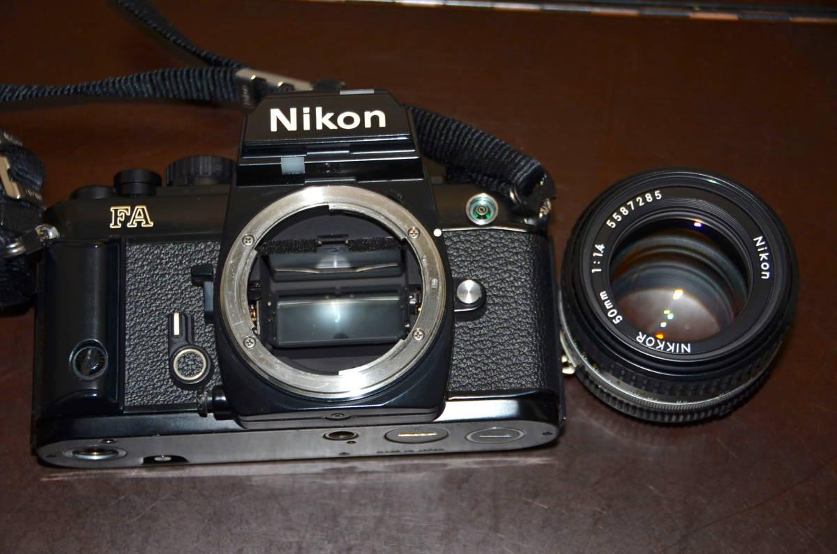 Nikon FA ニコン フィルムカメラ ブラック Nikkor 50mm f1.4 Ai-S レンズ National PE-200 S ストロボ ケース ストラップ 付き_画像8