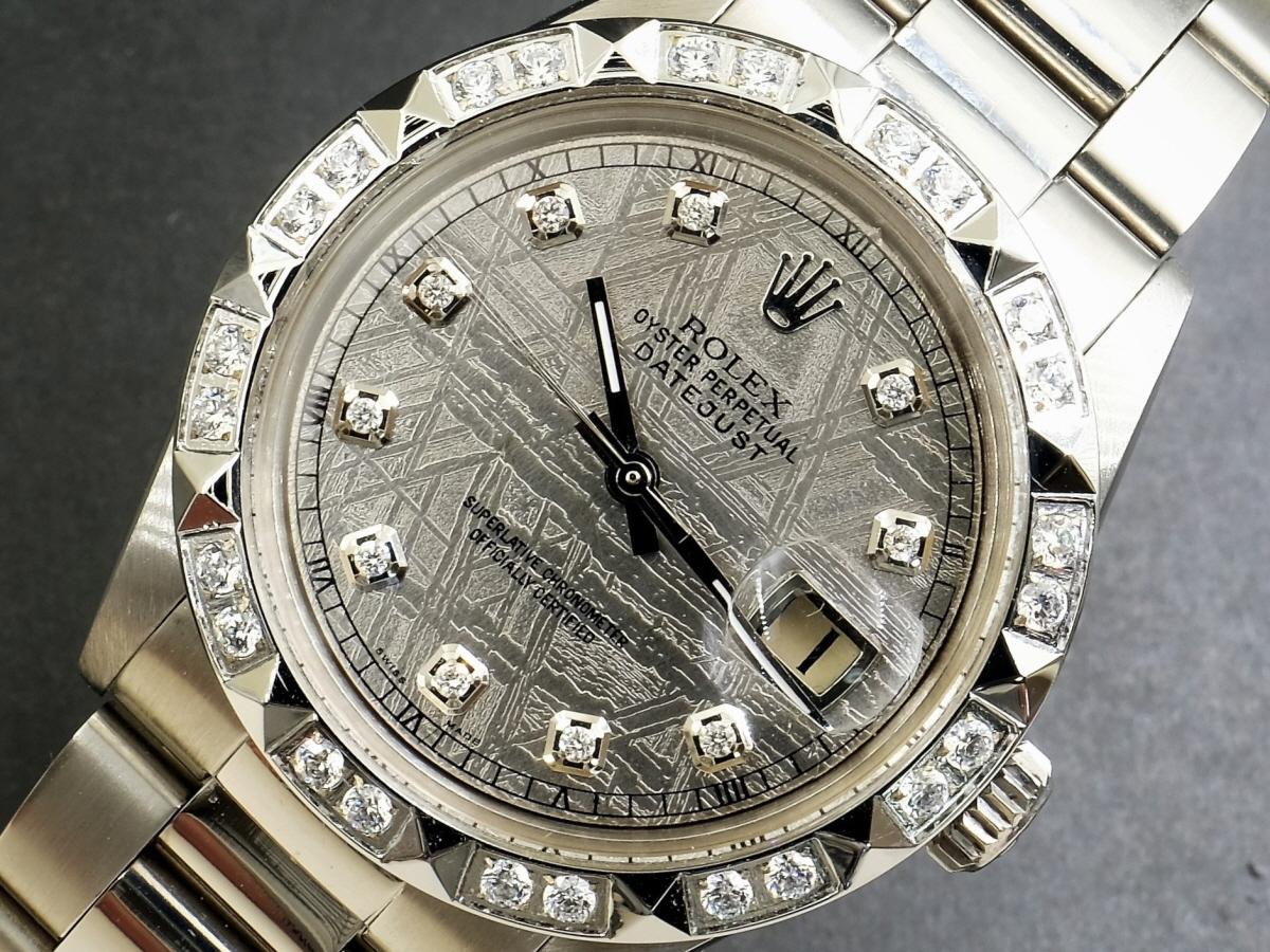 新品仕上げ、ROLEX製 Ref.1601 Cal1560 Rolex DateJust★ロレックスデイトジャスト★(天然隕石)メテオライト10ダイヤ&ベゼル OH済1年保証