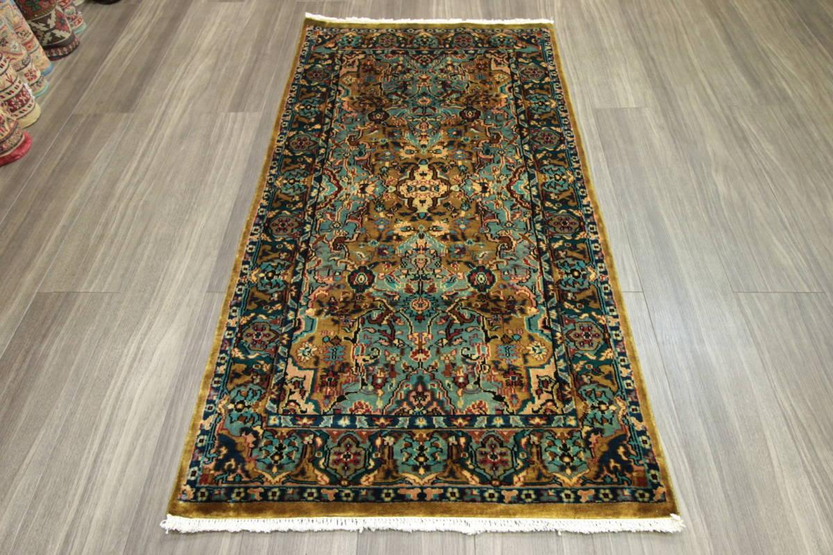高級ラグ パキスタン オールド手織り絨毯 カシミリアンブランド ペルシャデザイン 玄関マット 80x145cm/GH222_画像9