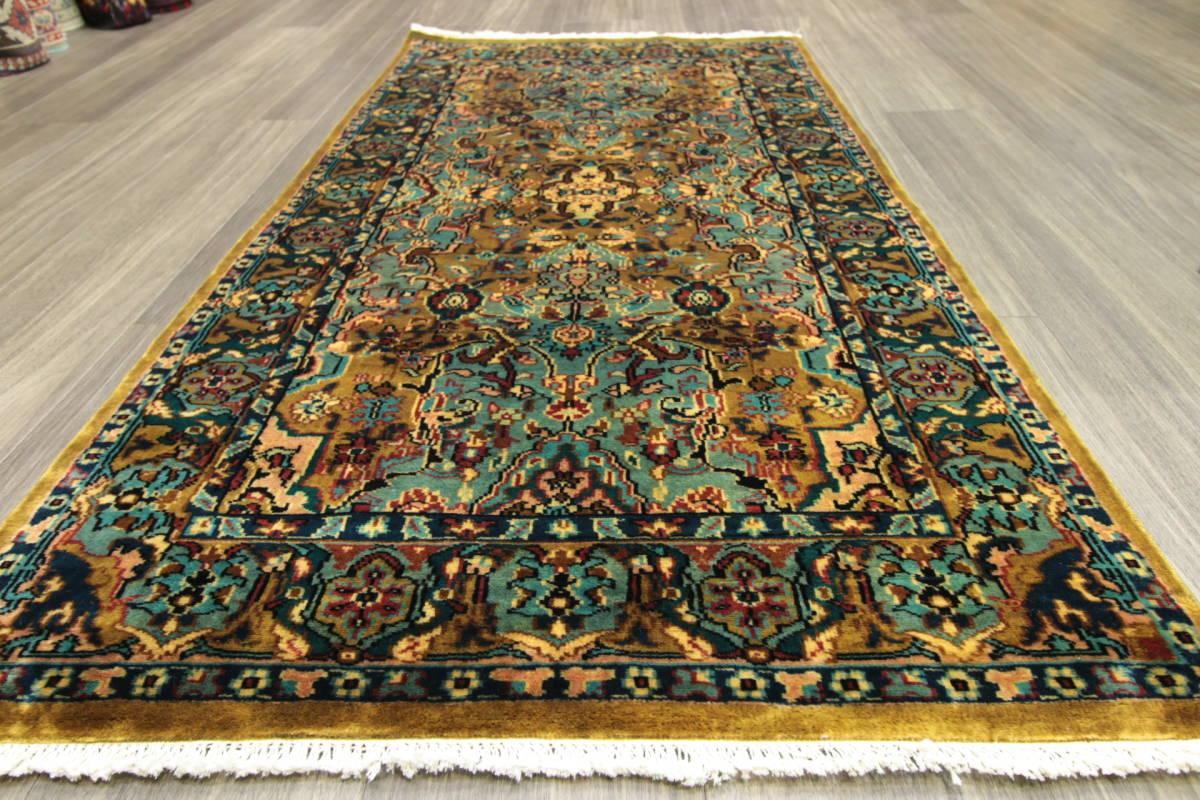 高級ラグ パキスタン オールド手織り絨毯 カシミリアンブランド ペルシャデザイン 玄関マット 80x145cm/GH222