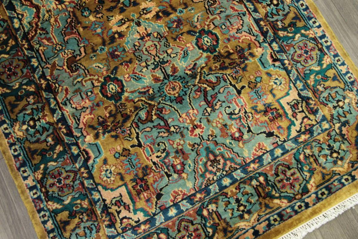 高級ラグ パキスタン オールド手織り絨毯 カシミリアンブランド ペルシャデザイン 玄関マット 80x145cm/GH222_画像8