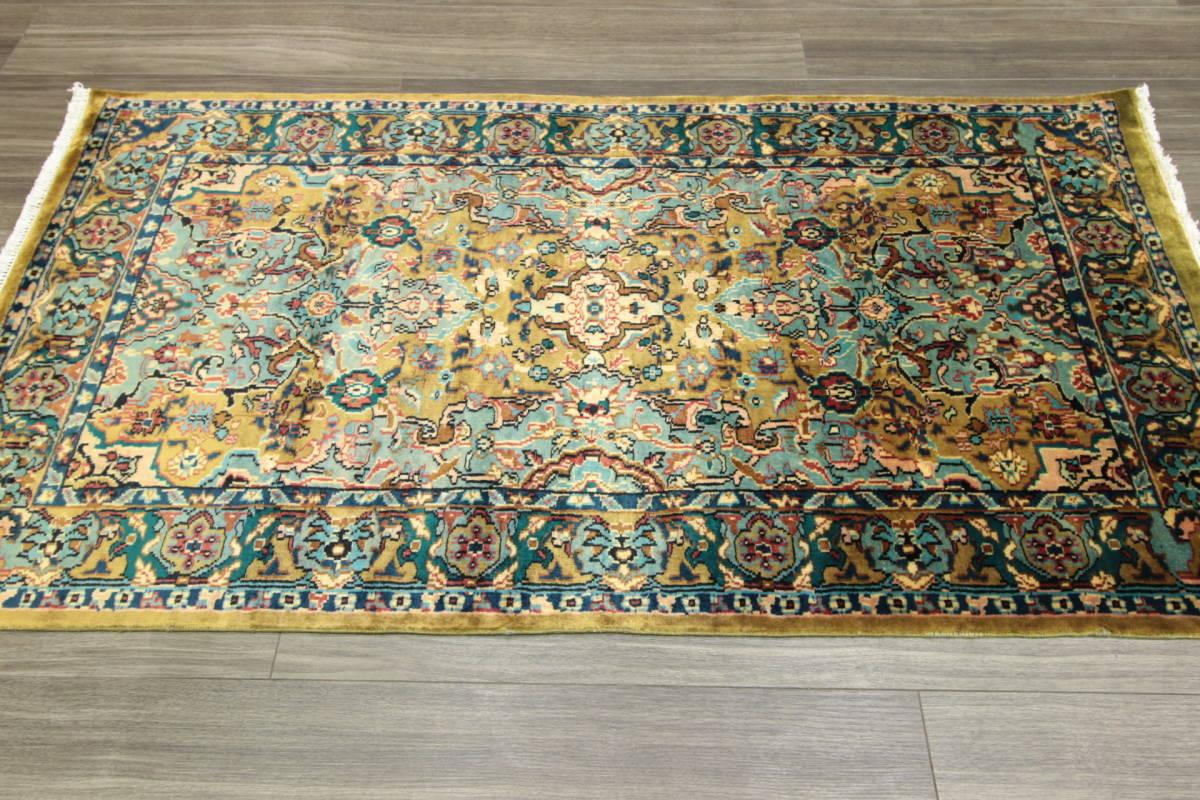 高級ラグ パキスタン オールド手織り絨毯 カシミリアンブランド ペルシャデザイン 玄関マット 80x145cm/GH222_画像2