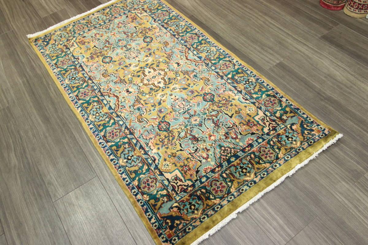 高級ラグ パキスタン オールド手織り絨毯 カシミリアンブランド ペルシャデザイン 玄関マット 80x145cm/GH222_画像10
