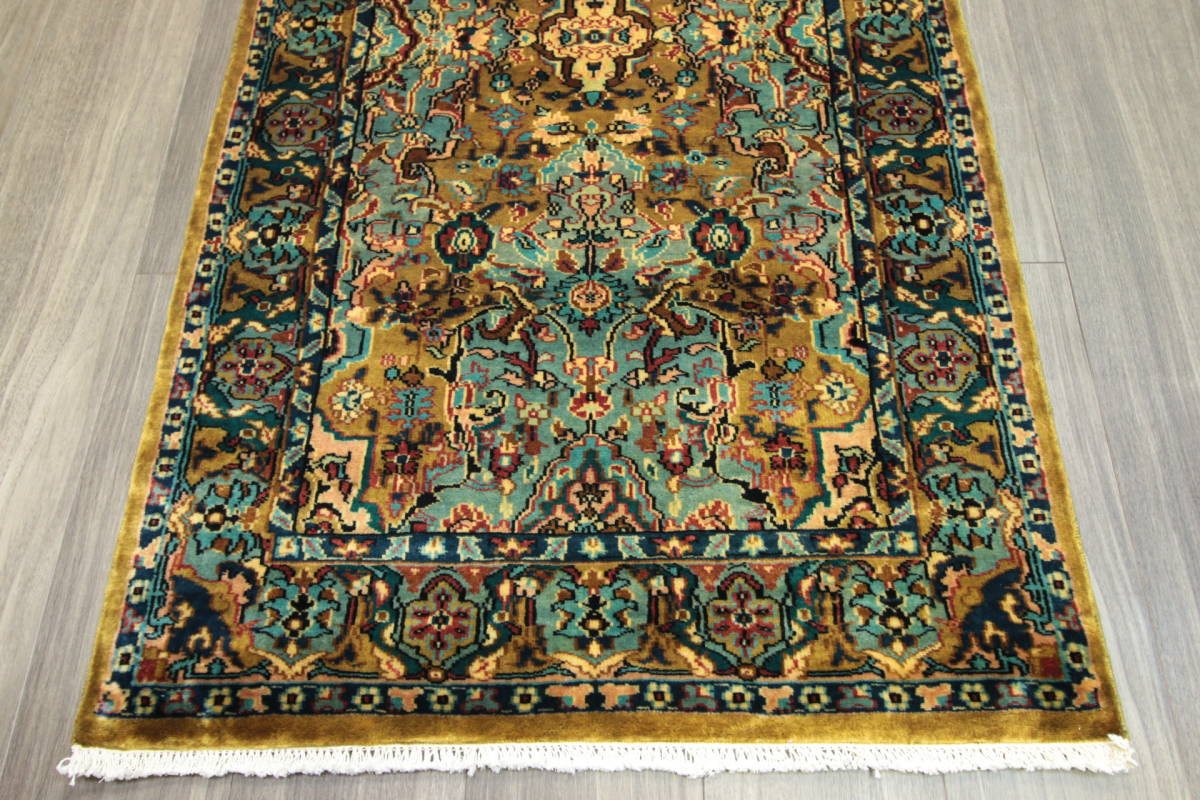 高級ラグ パキスタン オールド手織り絨毯 カシミリアンブランド ペルシャデザイン 玄関マット 80x145cm/GH222_画像4