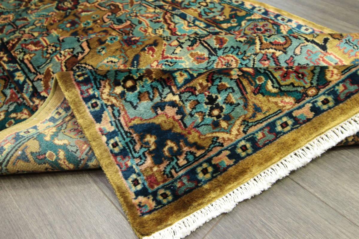 高級ラグ パキスタン オールド手織り絨毯 カシミリアンブランド ペルシャデザイン 玄関マット 80x145cm/GH222_画像6
