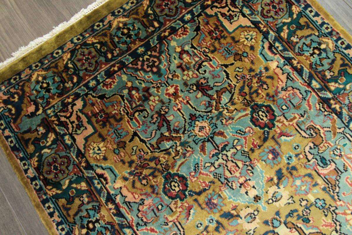 高級ラグ パキスタン オールド手織り絨毯 カシミリアンブランド ペルシャデザイン 玄関マット 80x145cm/GH222_画像7
