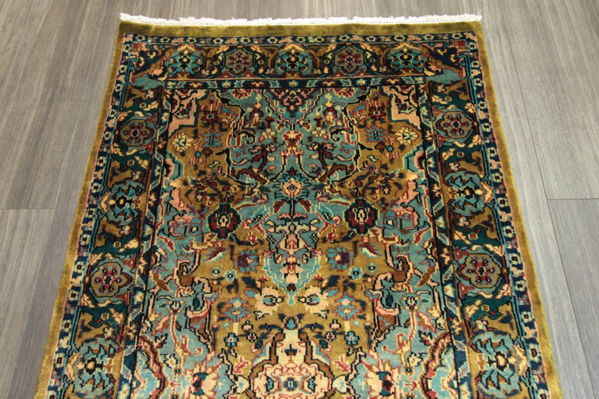 高級ラグ パキスタン オールド手織り絨毯 カシミリアンブランド ペルシャデザイン 玄関マット 80x145cm/GH222_画像3