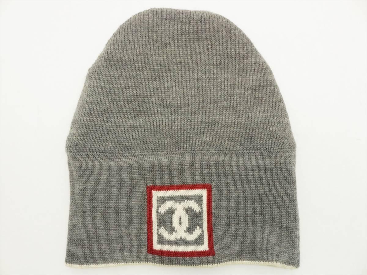 9896a7619470 代購代標第一品牌- 樂淘letao - 本物保証 シャネルスポーツラインリバーシブルニット帽キャップ帽子ウールシルクカシミヤグレーホワイト ココマークCHANEL
