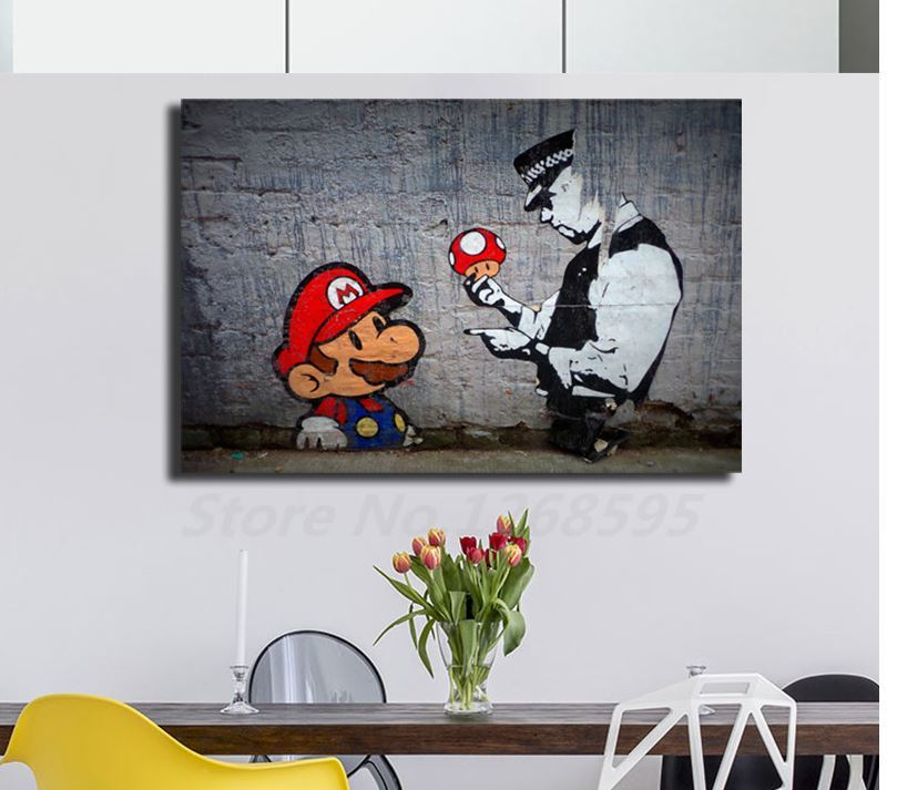 new goods BANKSY Mario mushrooms canvas material . Bank si- graffiti
