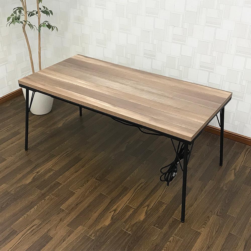 【送料無料】【アウトレット】アイアンこたつテーブル120×60cm 継脚タイプ 長方形 古材風天板 インダストリアル こたつ カフェテーブル_画像1