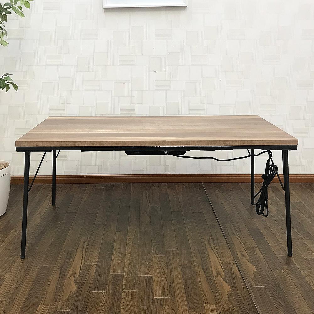 【送料無料】【アウトレット】アイアンこたつテーブル120×60cm 継脚タイプ 長方形 古材風天板 インダストリアル こたつ カフェテーブル_画像2