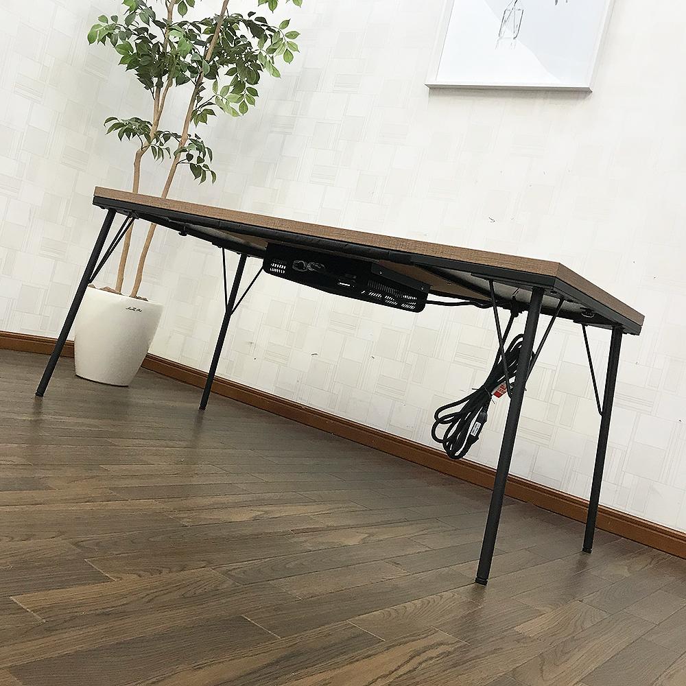 【送料無料】【アウトレット】アイアンこたつテーブル120×60cm 継脚タイプ 長方形 古材風天板 インダストリアル こたつ カフェテーブル_画像3
