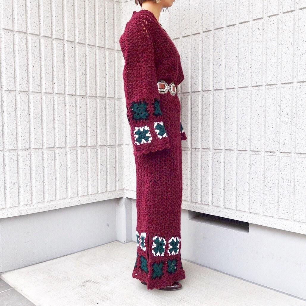 ヴィンテージニットワンピースレディース ビンテージアンティーク古着レトロ赤ボルドーカラー刺繍編みハンドメイドレースロング長袖70s_画像3