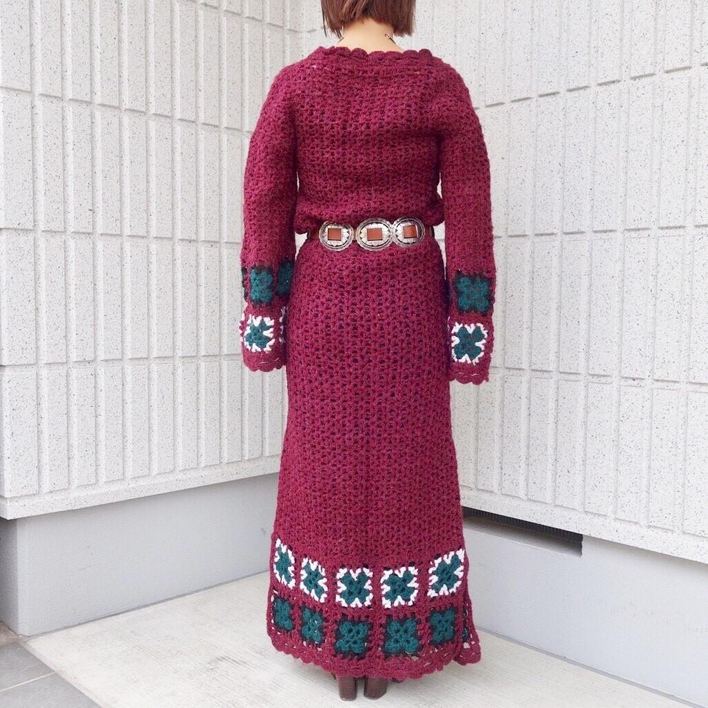 ヴィンテージニットワンピースレディース ビンテージアンティーク古着レトロ赤ボルドーカラー刺繍編みハンドメイドレースロング長袖70s_画像4