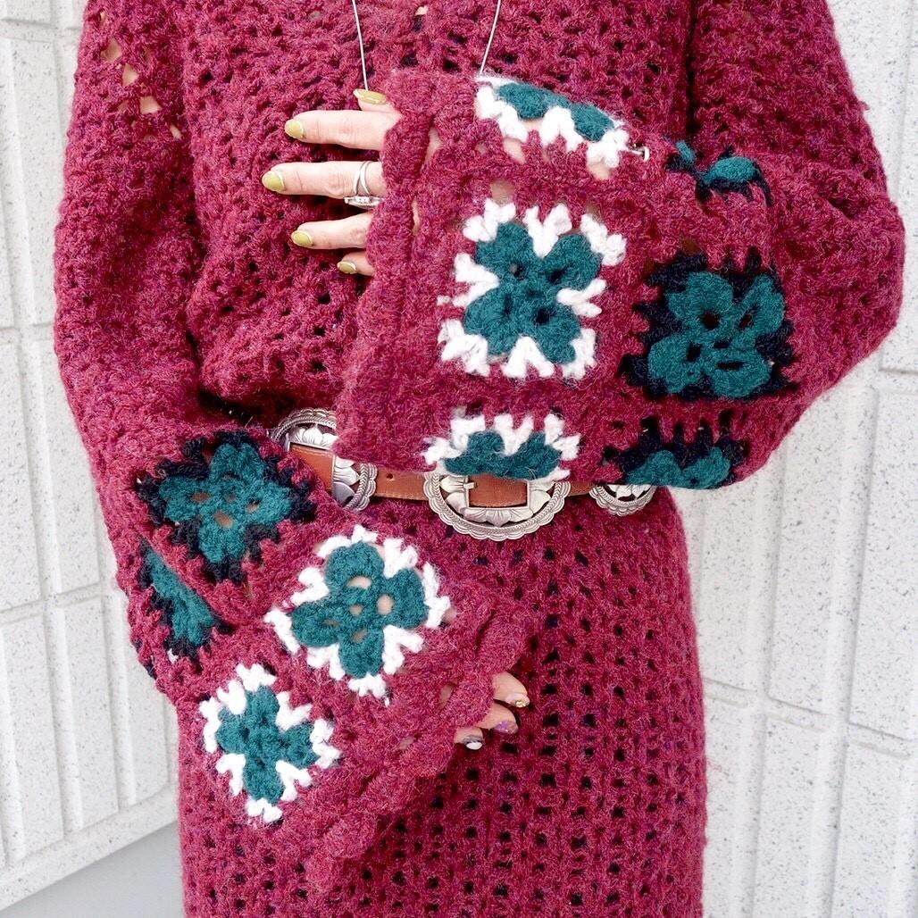 ヴィンテージニットワンピースレディース ビンテージアンティーク古着レトロ赤ボルドーカラー刺繍編みハンドメイドレースロング長袖70s_画像7