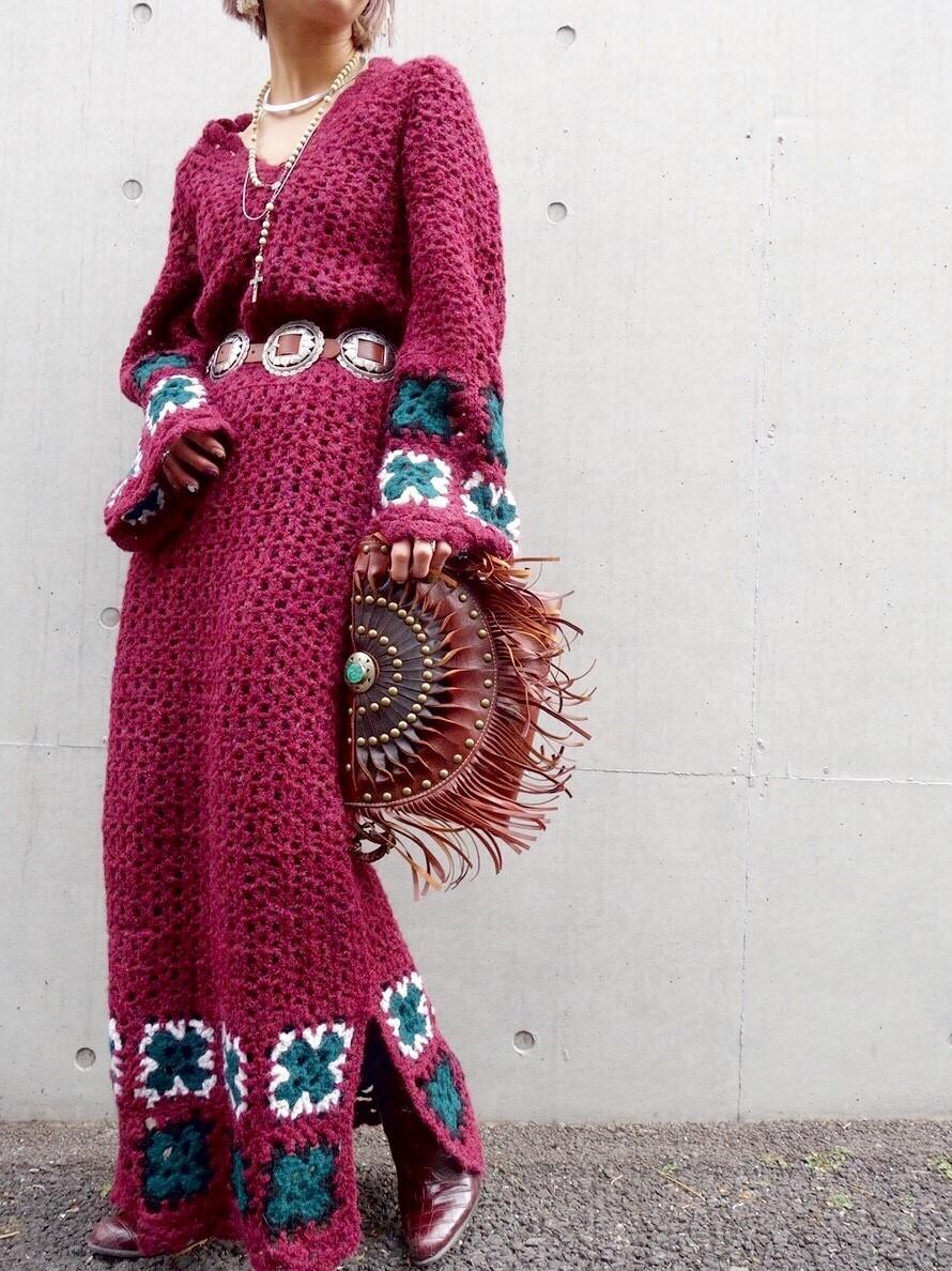 ヴィンテージニットワンピースレディース ビンテージアンティーク古着レトロ赤ボルドーカラー刺繍編みハンドメイドレースロング長袖70s_画像10