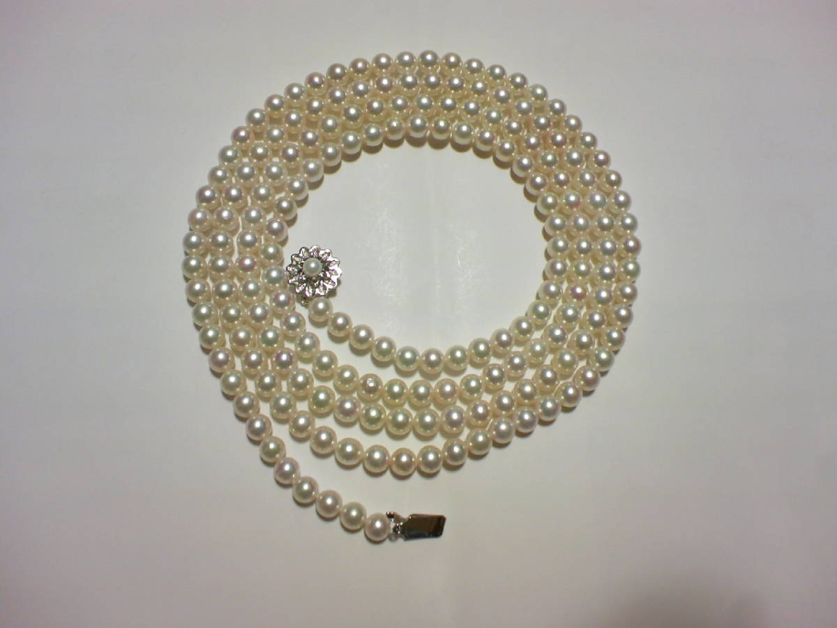アコヤ真珠パール和玉ネックレス 6.5-7mm 120cm 留金SV ★ロング