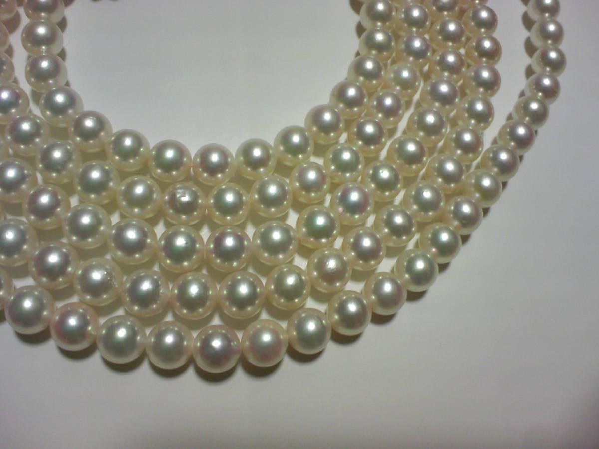 アコヤ真珠パール和玉ネックレス 6.5-7mm 120cm 留金SV ★ロング_画像2