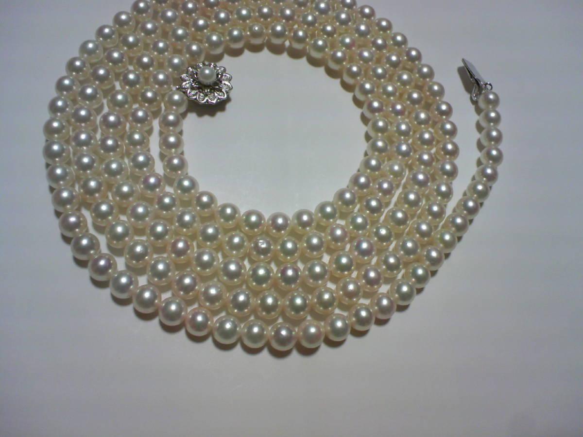 アコヤ真珠パール和玉ネックレス 6.5-7mm 120cm 留金SV ★ロング_画像3