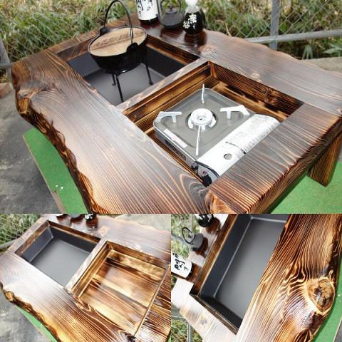 囲炉裏テーブル「E-156」 (コンロ等スペース2炉欲張りタイプ)おこぜ夢工房の田舎作り一点物_画像8