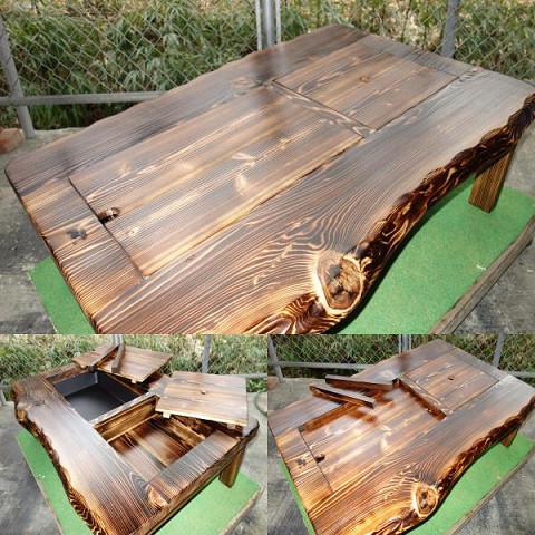 囲炉裏テーブル「E-156」 (コンロ等スペース2炉欲張りタイプ)おこぜ夢工房の田舎作り一点物_画像10