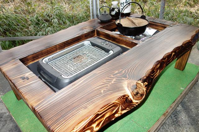 囲炉裏テーブル「E-156」 (コンロ等スペース2炉欲張りタイプ)おこぜ夢工房の田舎作り一点物