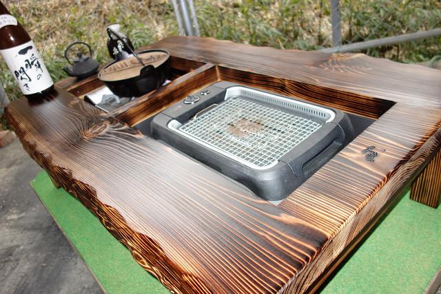 囲炉裏テーブル「E-156」 (コンロ等スペース2炉欲張りタイプ)おこぜ夢工房の田舎作り一点物_画像2