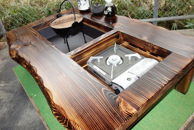 囲炉裏テーブル「E-156」 (コンロ等スペース2炉欲張りタイプ)おこぜ夢工房の田舎作り一点物_画像4