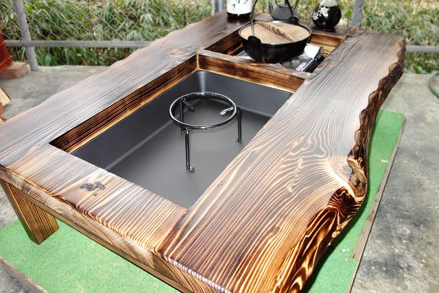 囲炉裏テーブル「E-156」 (コンロ等スペース2炉欲張りタイプ)おこぜ夢工房の田舎作り一点物_画像5