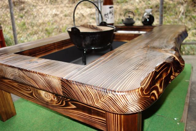 囲炉裏テーブル「E-156」 (コンロ等スペース2炉欲張りタイプ)おこぜ夢工房の田舎作り一点物_画像7