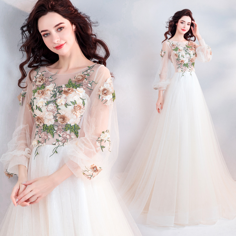 Elegant Champagne Wedding Dress Color Dress See Through Sleeve Long Sleeve Short Train Solid Motif Party Wedding Dress Real Yahoo Auction Salling,Used Monique Lhuillier Wedding Dresses