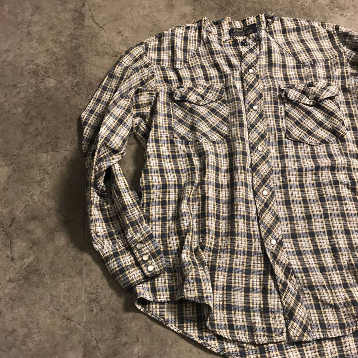 ★KT3595 スタイリスト厳選 人気のノーカラーシャツ ヴィンテージ Lantal 長袖 襟なし リメイク ウエスタンシャツ チェックシャツ M★_画像1