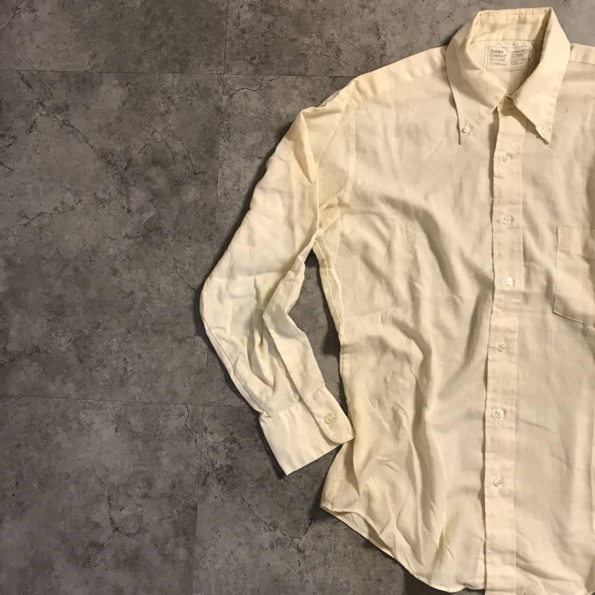 ★KT3424 ヴィンテージ アメリカ ストアブランド Sears シアーズ 長袖 ポリコットン ボタンダウンシャツ 無地 ベージュ系★_画像1
