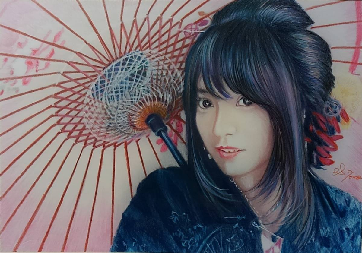 『作品788』S.Tomo氏直筆色鉛筆画 超美品 美人画 新品額装