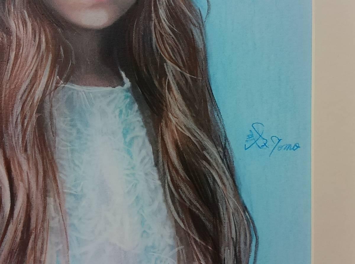 『作品779』S.Tomo氏直筆色鉛筆画 超美品 美人画 新品額装_画像2