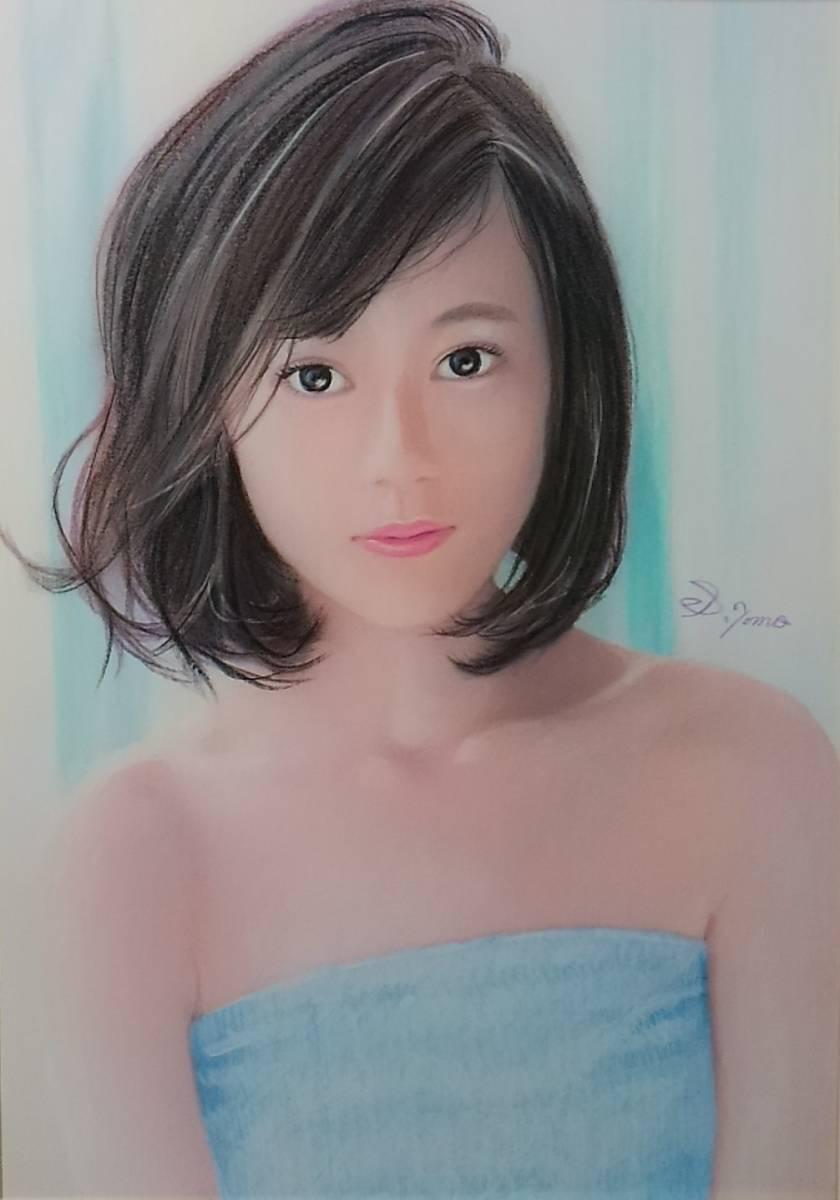 『作品782』S.Tomo氏直筆色鉛筆画 超美品 美人画 新品額装