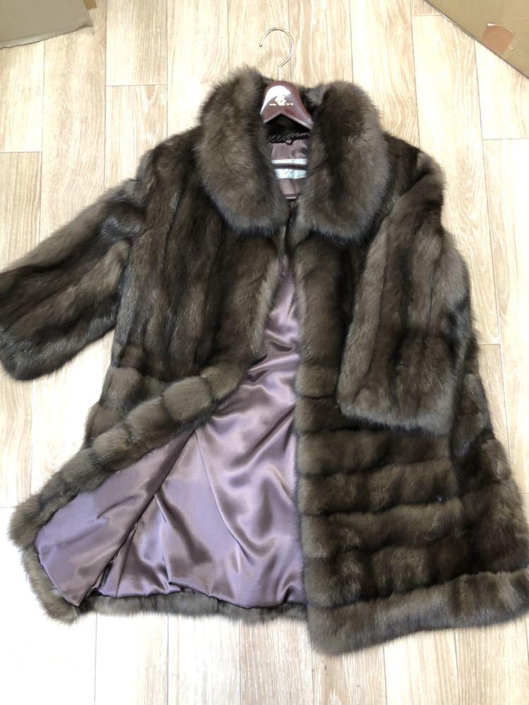極美品▼SOBOL SABLE ソボル ロシアンセーブル 本毛皮コート 毛質艶やか・柔らか◎ M~