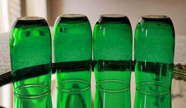 美品! ファイヤーキング フォレストグリーン タンブラー ジュースグラス 4個セット ビンテージ 1950年1960年代_画像3
