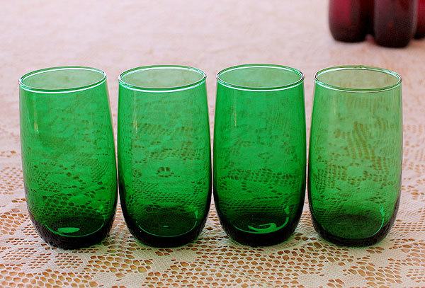 美品! ファイヤーキング フォレストグリーン タンブラー ジュースグラス 4個セット ビンテージ 1950年1960年代
