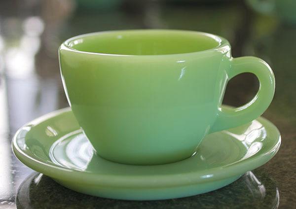 ミント! ファイヤーキング ジェダイ レストランウェア エキストラヘビー カップ&ソーサー 耐熱 ミルクグラス コーヒー ティー 紅茶