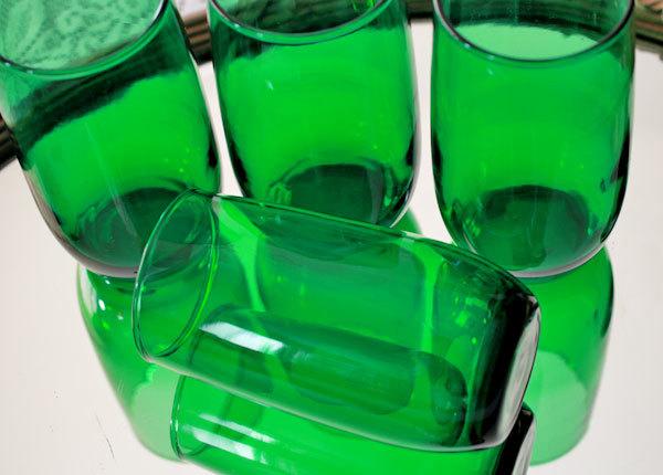 美品! ファイヤーキング フォレストグリーン タンブラー ジュースグラス 4個セット ビンテージ 1950年1960年代_画像2