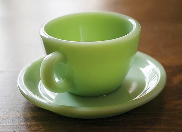 美品! ファイヤーキング ジェダイ レストランウェア ナローリム カップ&ソーサー 耐熱 ミルクグラス コーヒー 紅茶 ティー ココア_画像2