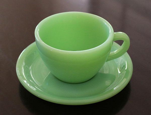 美品! ファイヤーキング ジェダイ レストランウェア ナローリム カップ&ソーサー 耐熱 ミルクグラス コーヒー 紅茶 ティー ココア