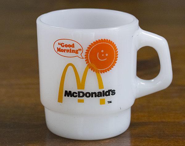 美品! ファイヤーキング マグ マクドナルド マック スタッキング 耐熱 ミルクグラス コーヒー