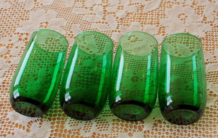 美品! ファイヤーキング フォレストグリーン タンブラー ジュースグラス 4個セット ビンテージ 1950年1960年代_画像4
