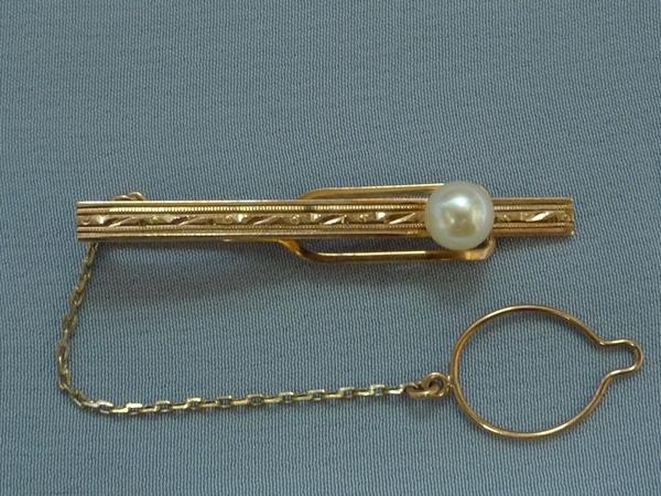 金製/K10刻印「真珠付きネクタイピン 1本」■美品