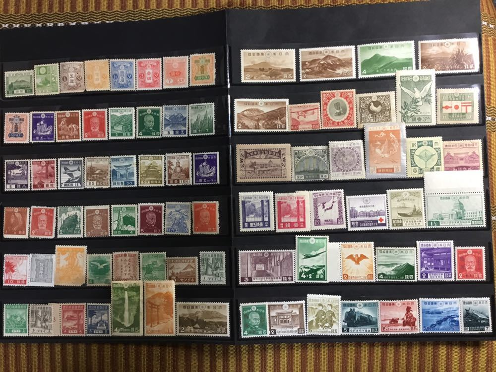 レア切手の田沢30銭、芦ノ湖航空も 全て戦前と戦時中!大正時代~昭和19年記念切手、占領地切手、満州帝国切手、普通切手、航空切手 計82種