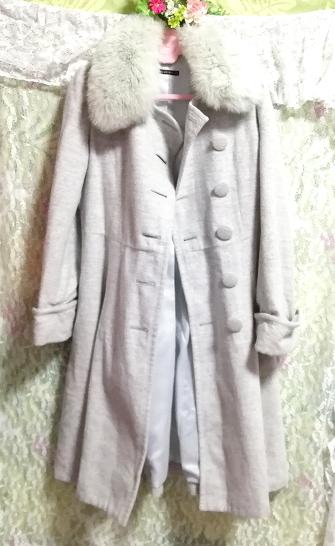 灰グレーブルーフォックスファーアンゴラロングコート/外套/アウター Ash gray blue fox fur angola long coat mantle_画像5