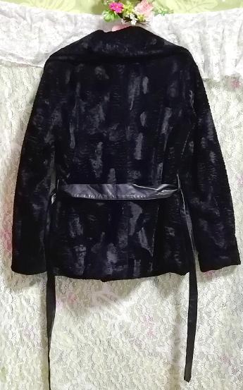 黒ブラック腰紐付きコート/外套/アウター Black waist string coat mantle_画像4